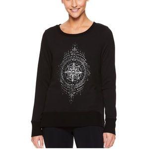 BNWT Gaiam NIRVANA HAMSA Graphic Yoga TOP T-Shirt